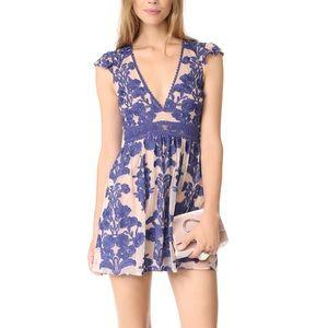 For Love & Lemons Blue Short Sleeve Lace Dress
